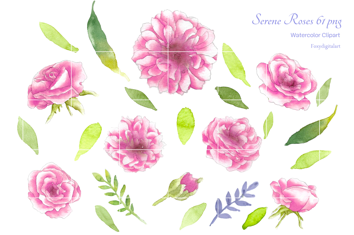 Watercolor Flowers Roses Clipart example image 2