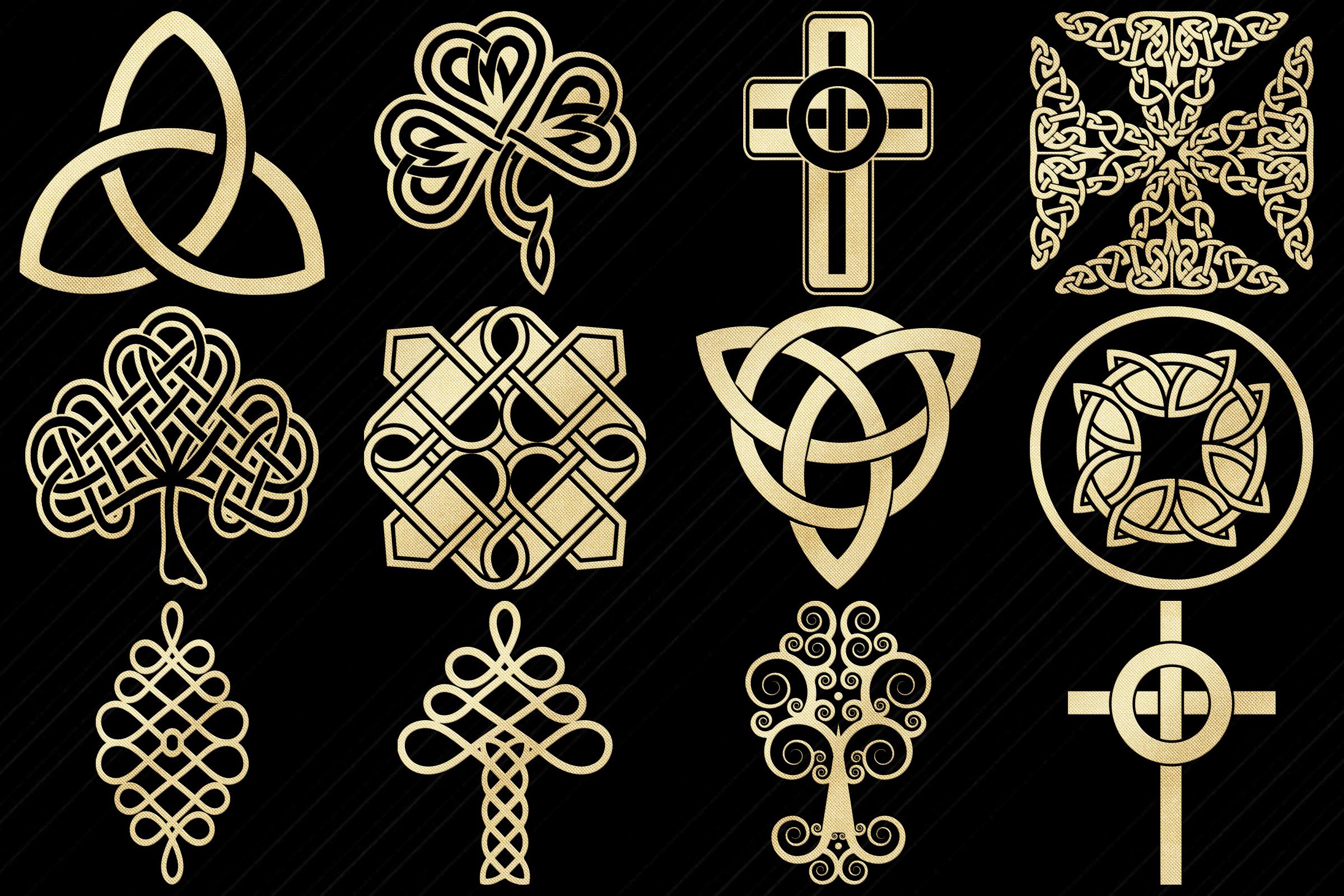 Gold Foil Celtic Symbols, Knots, Crosses Clip Art example image 3