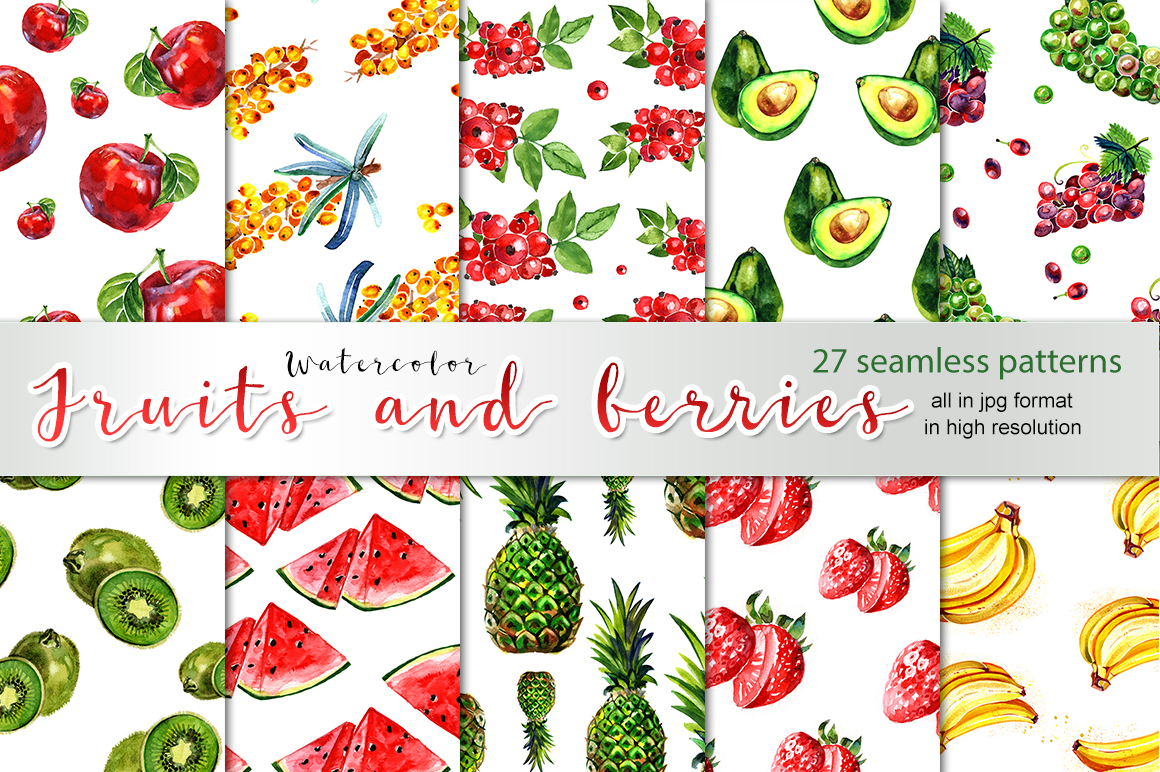 27 watercolor fruits patters example image 1