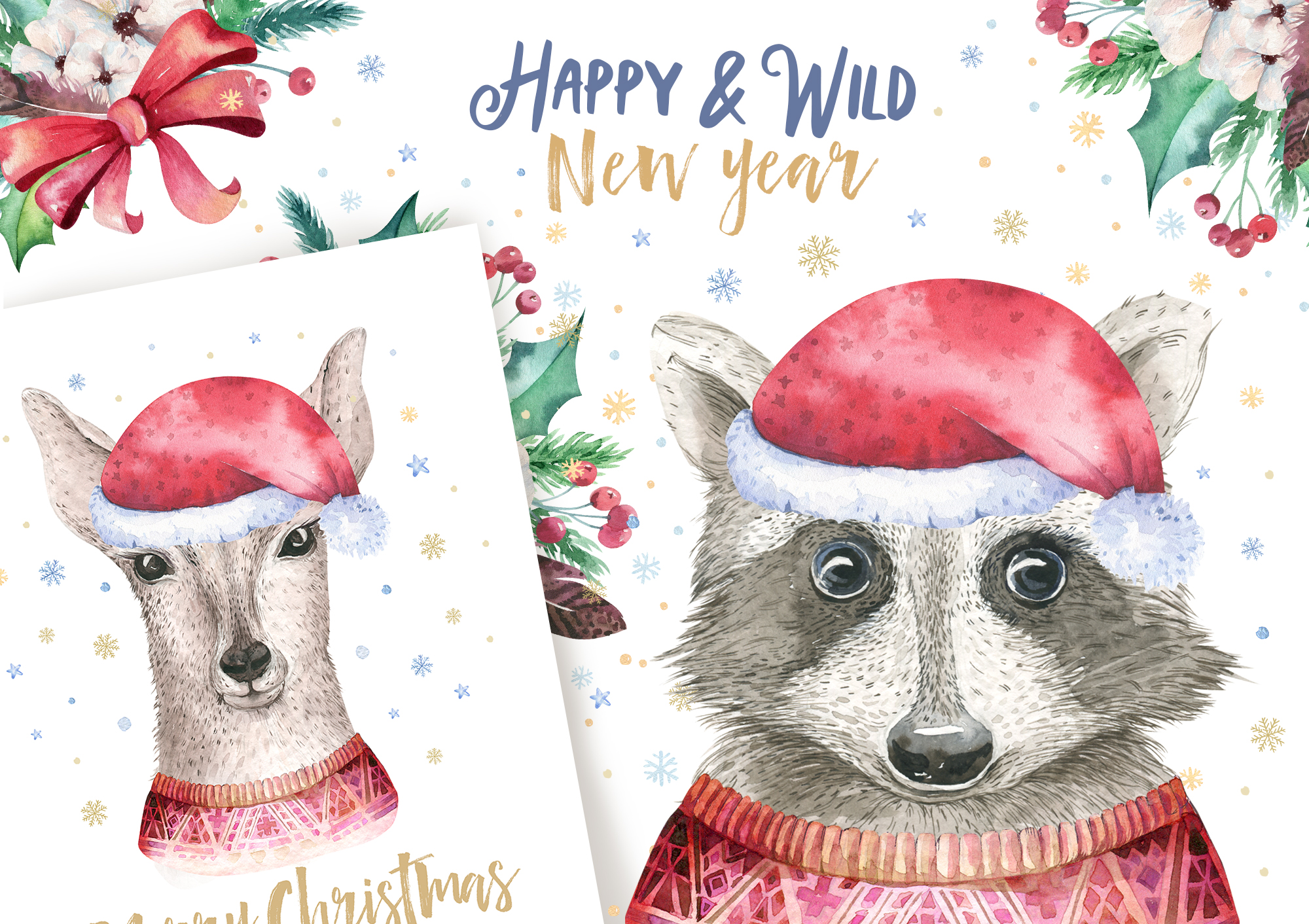 Christmas raccoon and deer animals example image 6