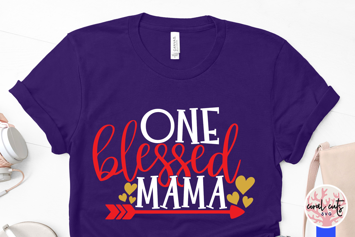 One blessed mama - Mother SVG EPS DXF PNG Cutting File example image 3
