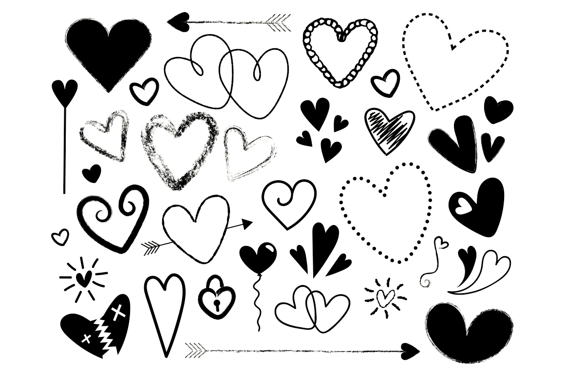 Black and White Silhouette Scribble Heart Clip Art Set example image 3