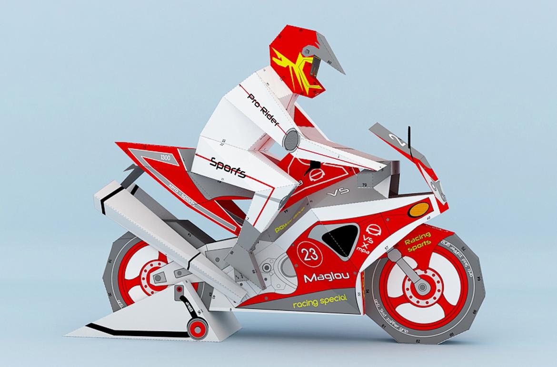 DIY Sports bike - 3d papercraft example image 4
