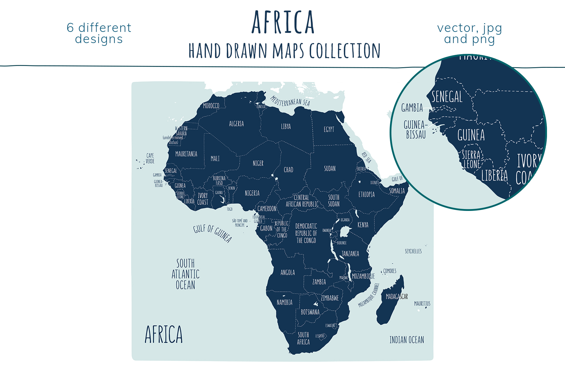 Maps of Africa. Hand drawn collection example image 7