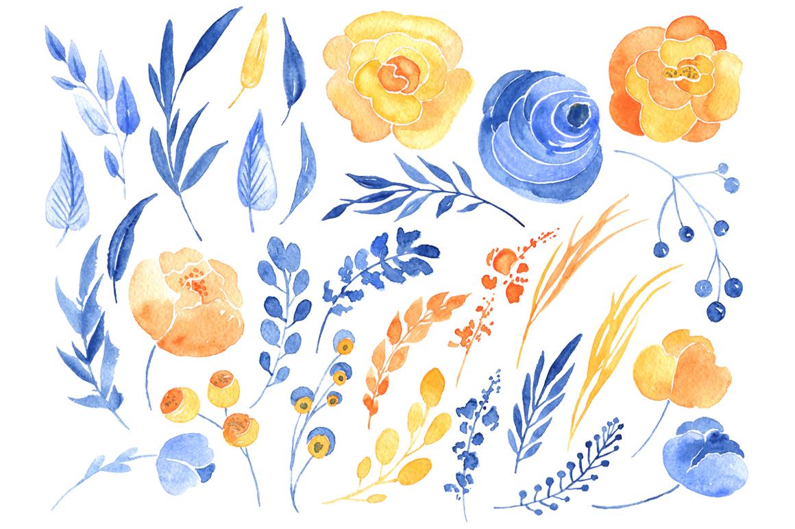 Watercolor blue & orange flowers example image 2