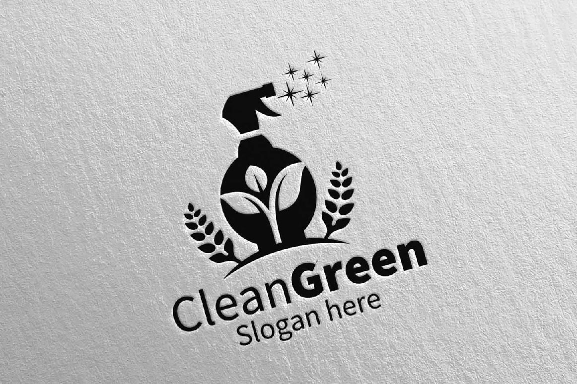 Cleaning Service Logo Eco Friendly example image 5