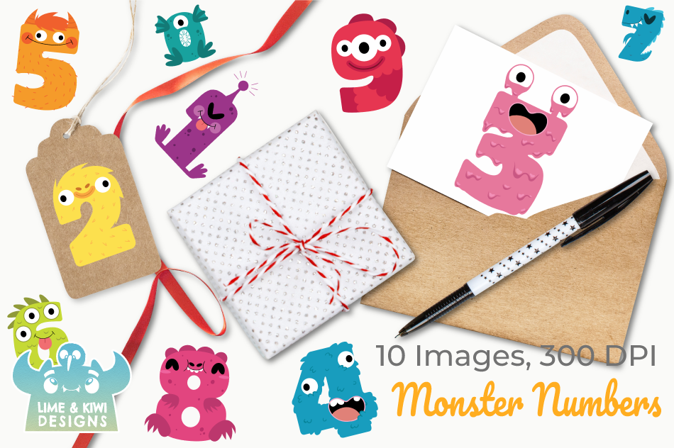 Monster Numbers Clipart, Instant Download Vector Art example image 4