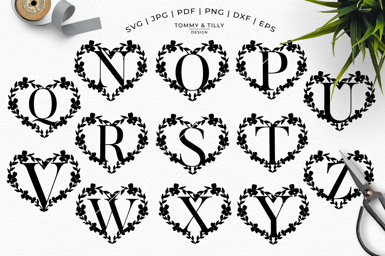 Heart A-Z Alphabet - Papercut SVG DXF PNG EPS JPG PDF example image 9