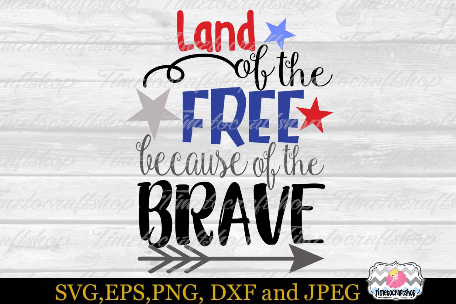 SVG EPS JPG DXF PNG Land of the Free because of the brave example image 2