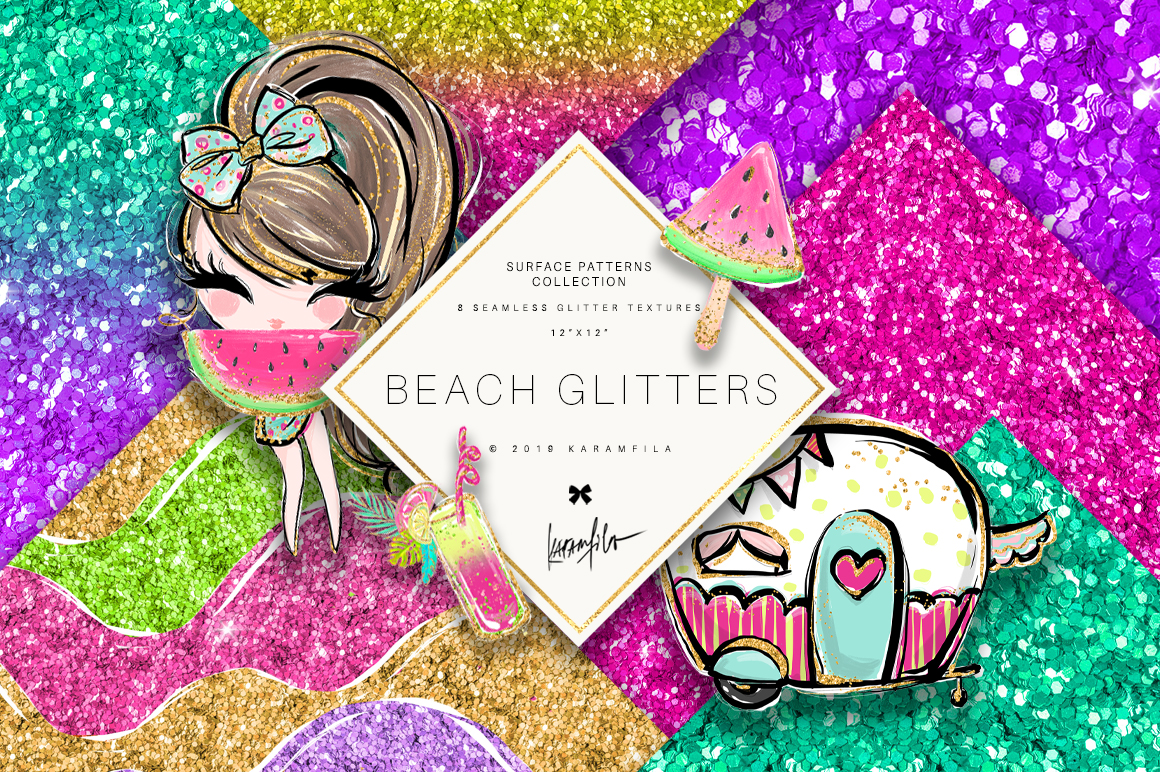 Glitter Waves Patterns example image 1