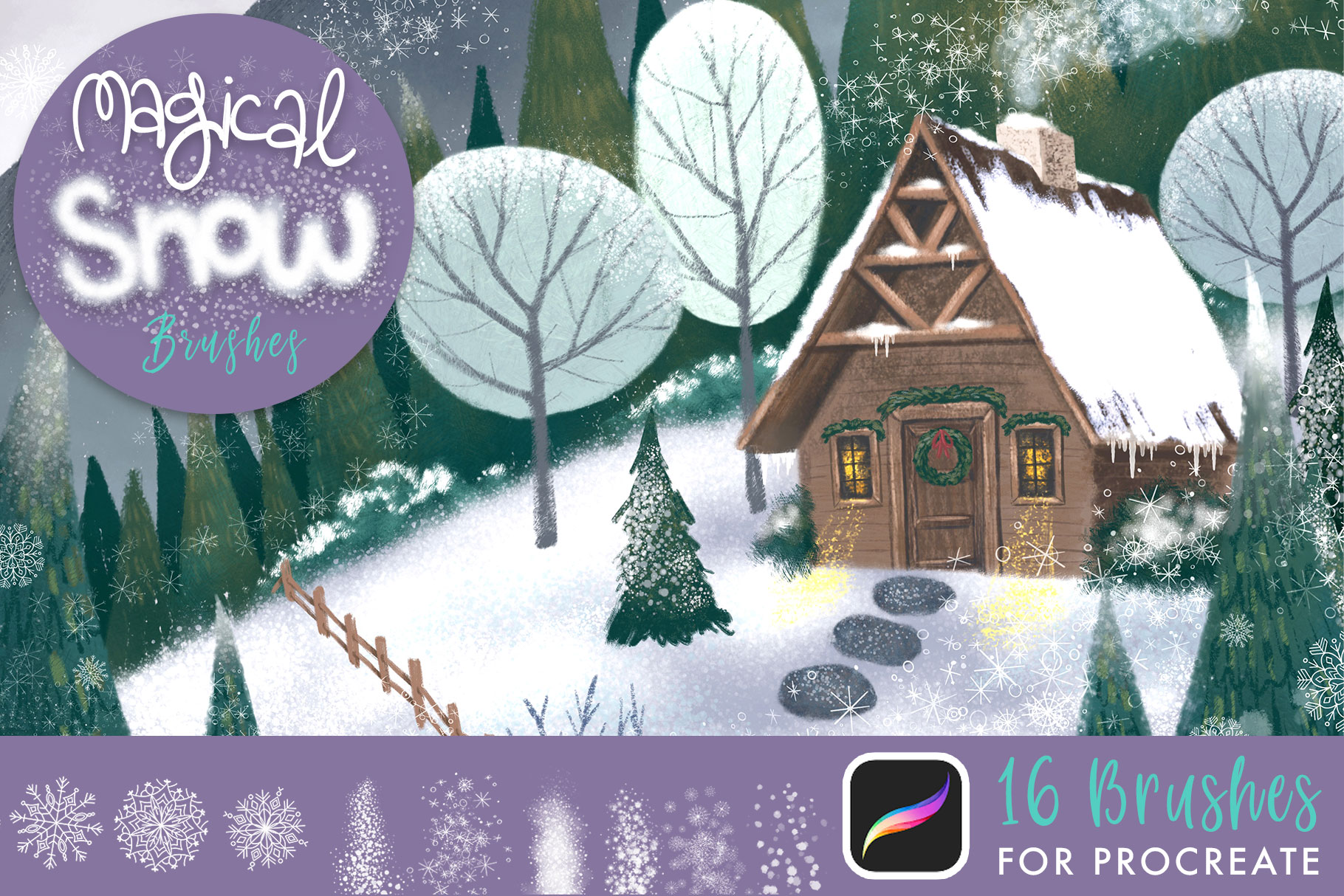 Magical Snow Procreate Brushes example image 1