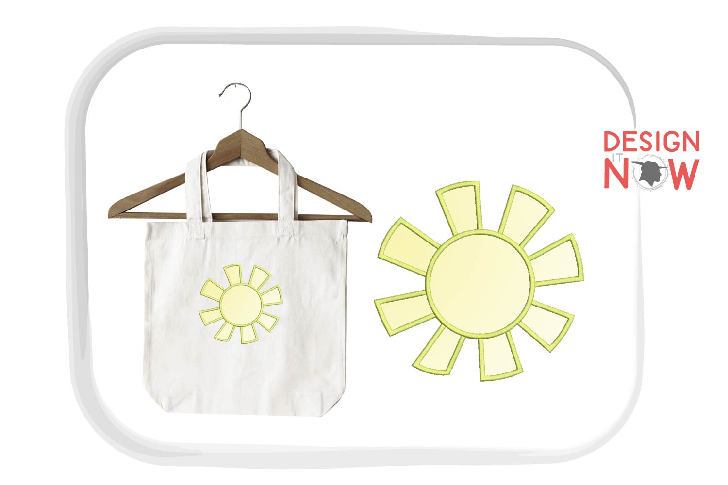 Sun Applique Embroidery Design, Flower Embroidery Pattern example image 1