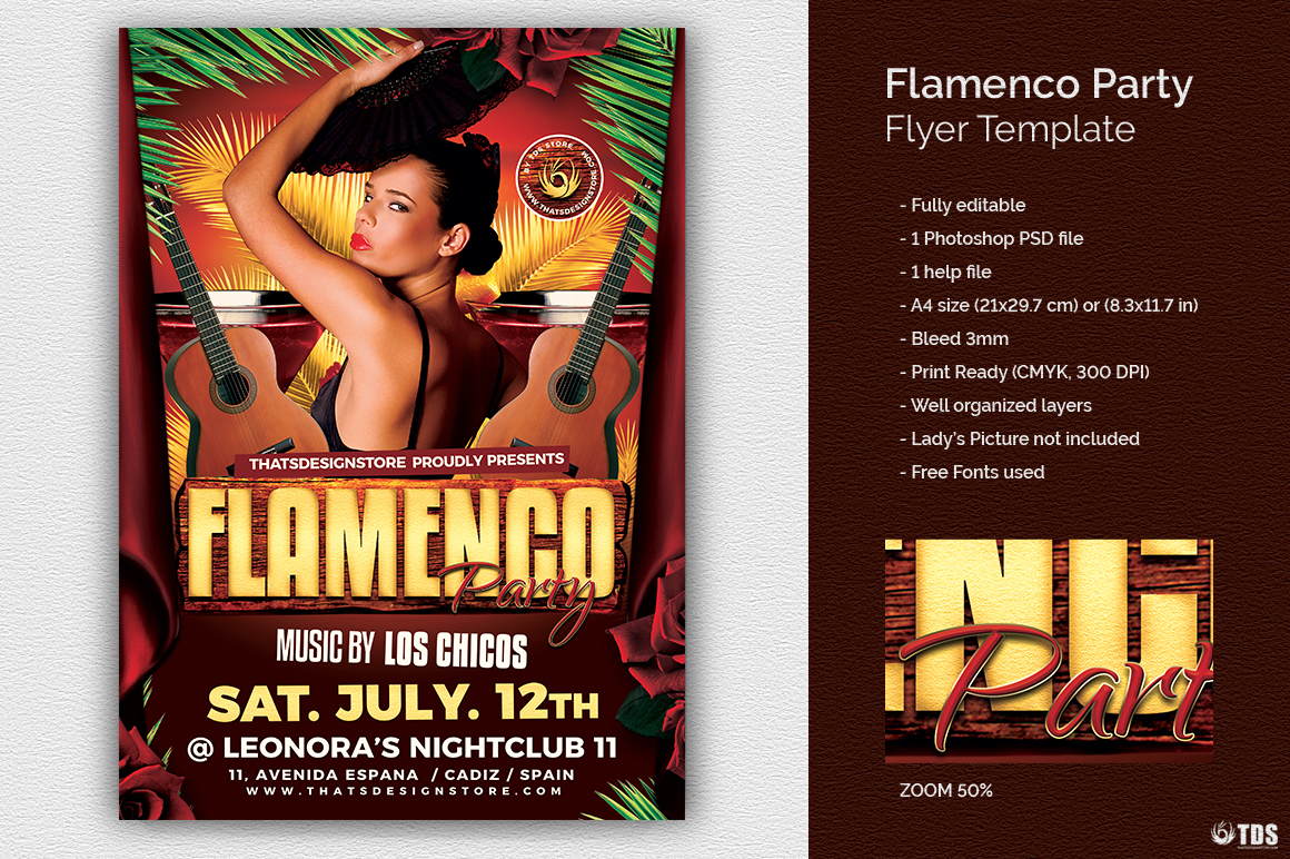 Flamenco Party Flyer Template example image 1