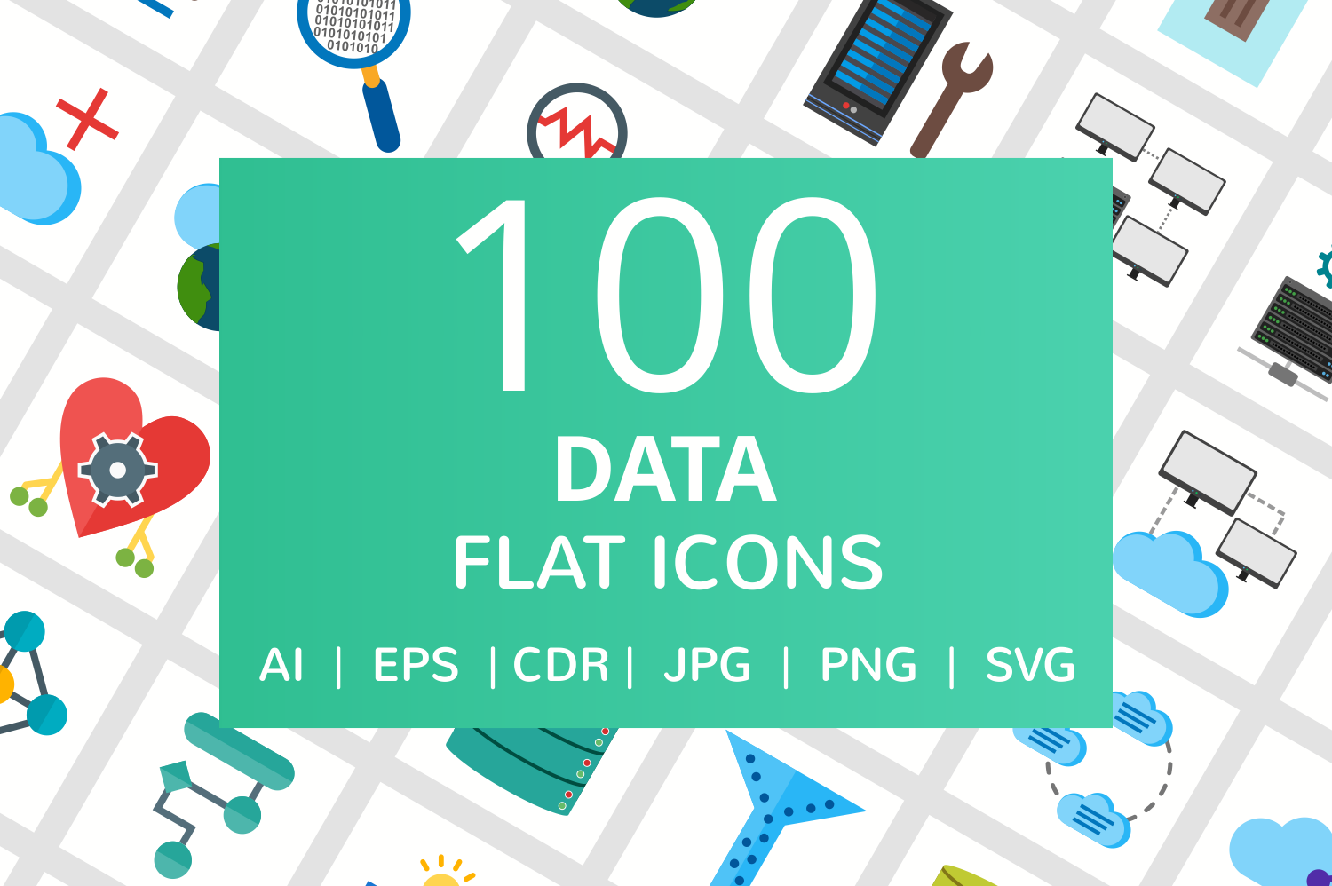 100 Data Flat Icons example image 1