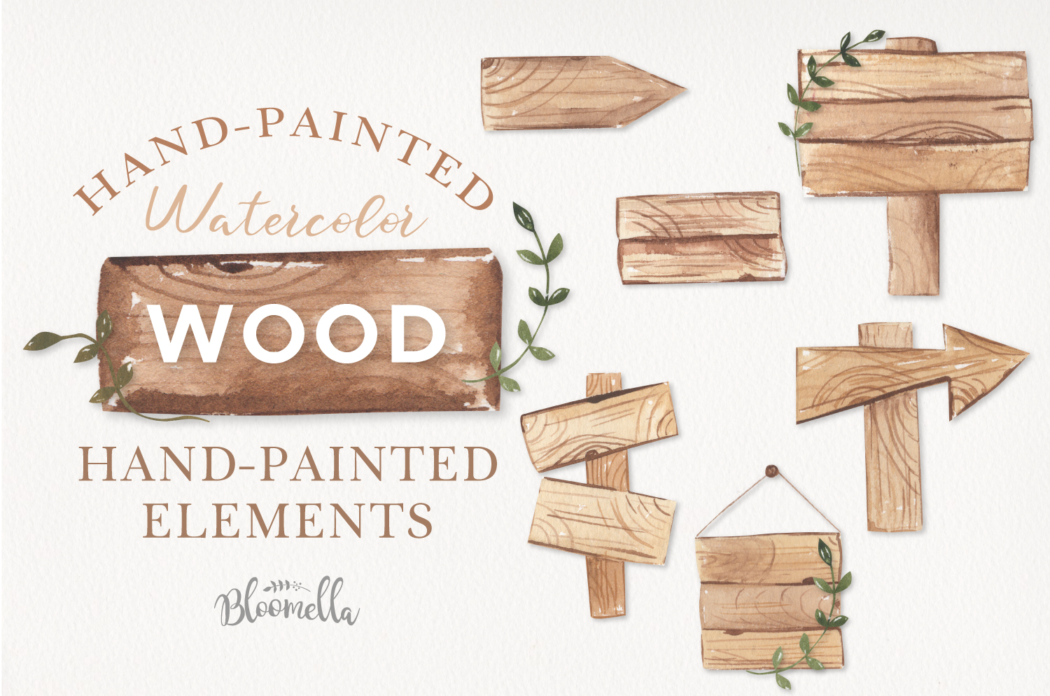 Watercolor Wood Signs Elements Woodland Wedding Leaves example image 1