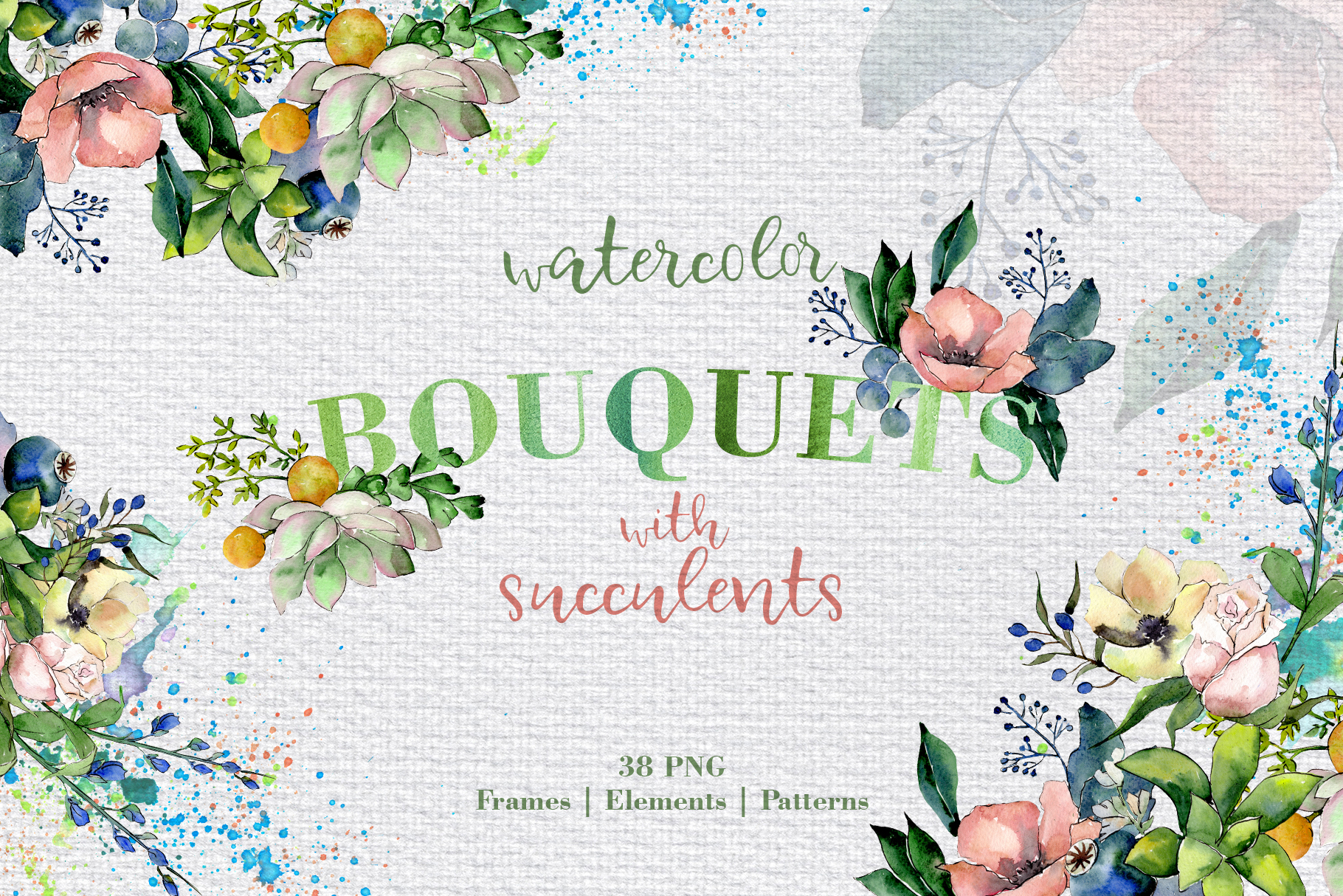 Bouquets with succulents Watercolor png example image 2