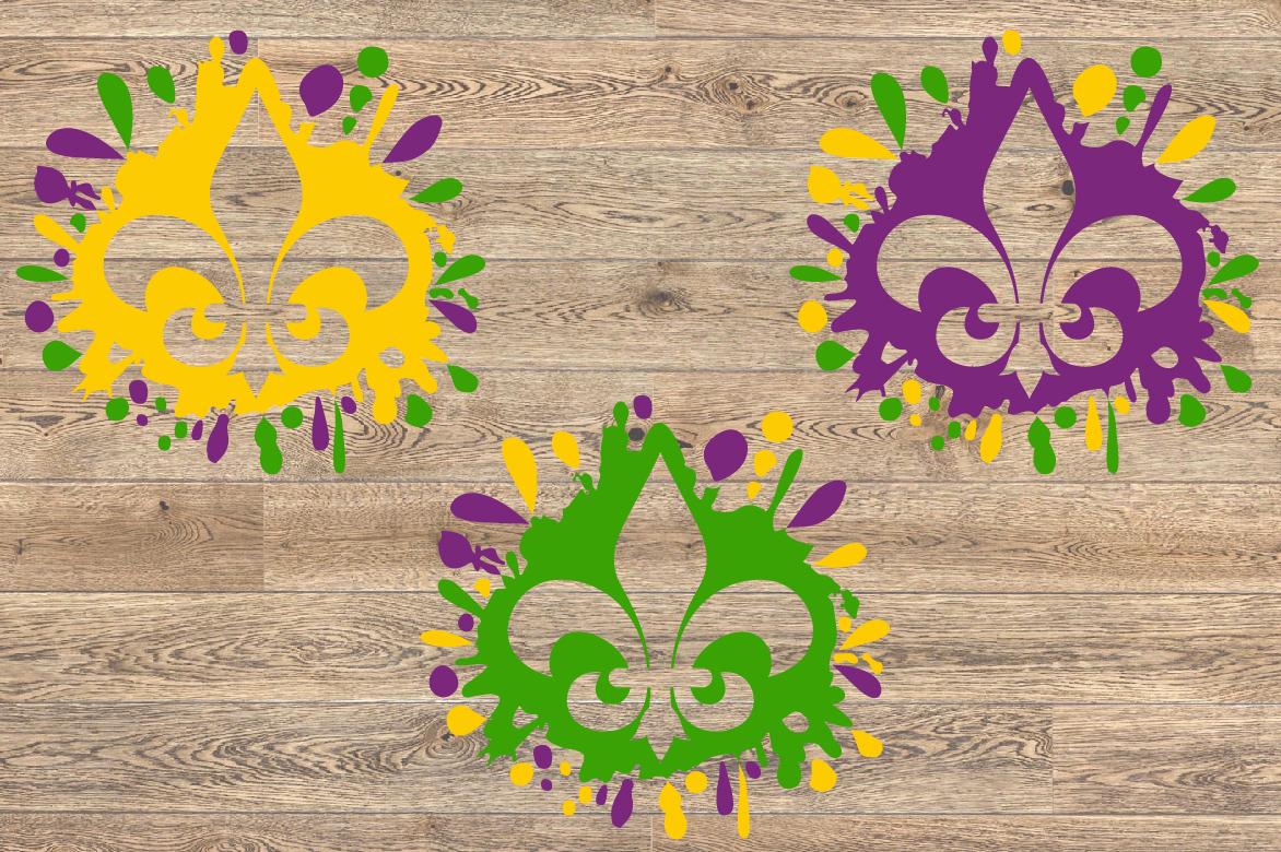 Fleur de Lis Mask Mardi ink Splash Gras SVG Tuesday 1278s example image 2