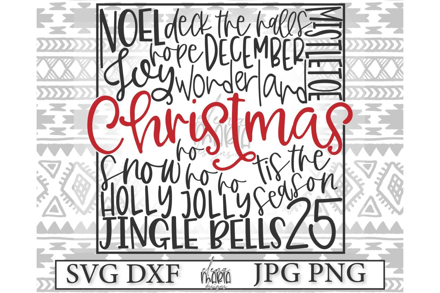 Christmas Subway Art Svg File | Holiday Svg File example image 2