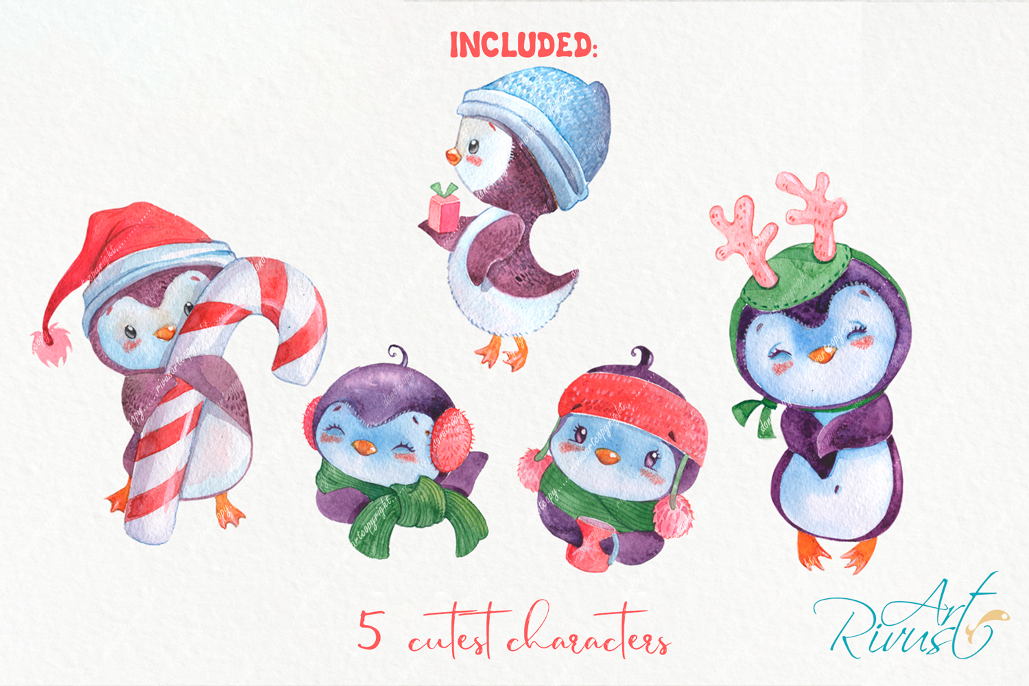 Christmas Penguins watercolor CLIPARTS, DIGITAL PAPERS example image 2