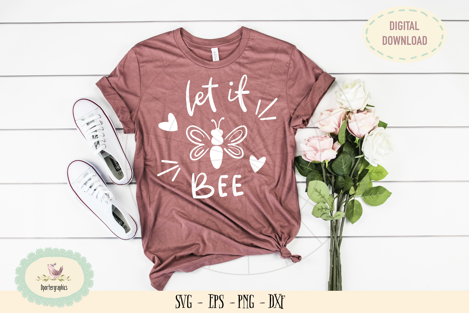 Let it bee SVG PNG hand lettered t-shirt design example image 1