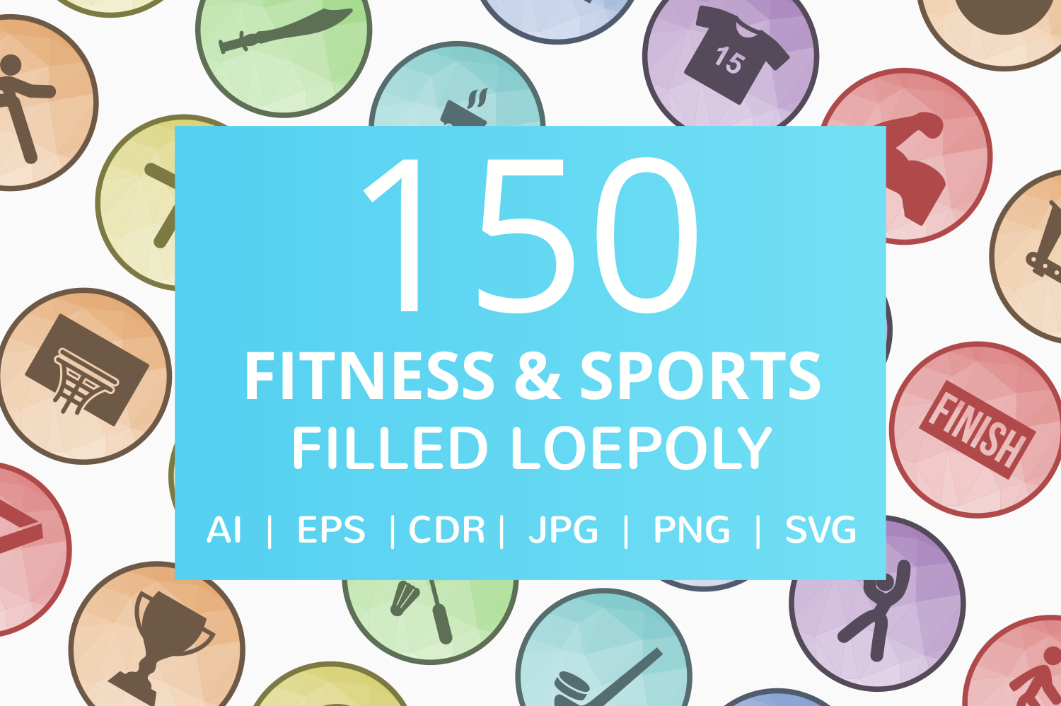 150 Fitness & Sports Filled Low Poly Icons example image 1