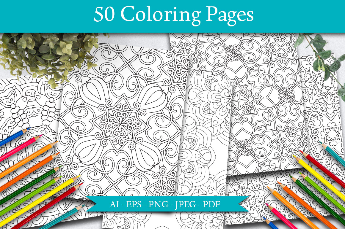 50 Geometric Coloring Pages example image 1
