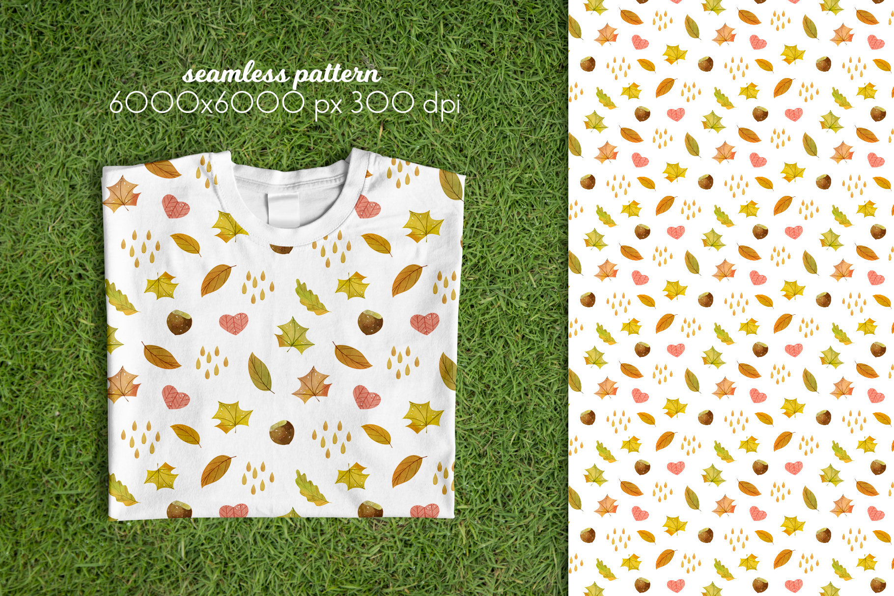 Watercolor Autumn Seamless Patterns Collection example image 10