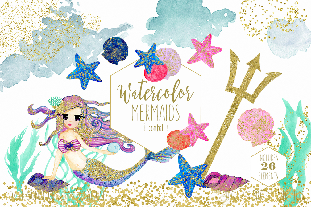 watercolor mermaid clipart with metallic gold confetti