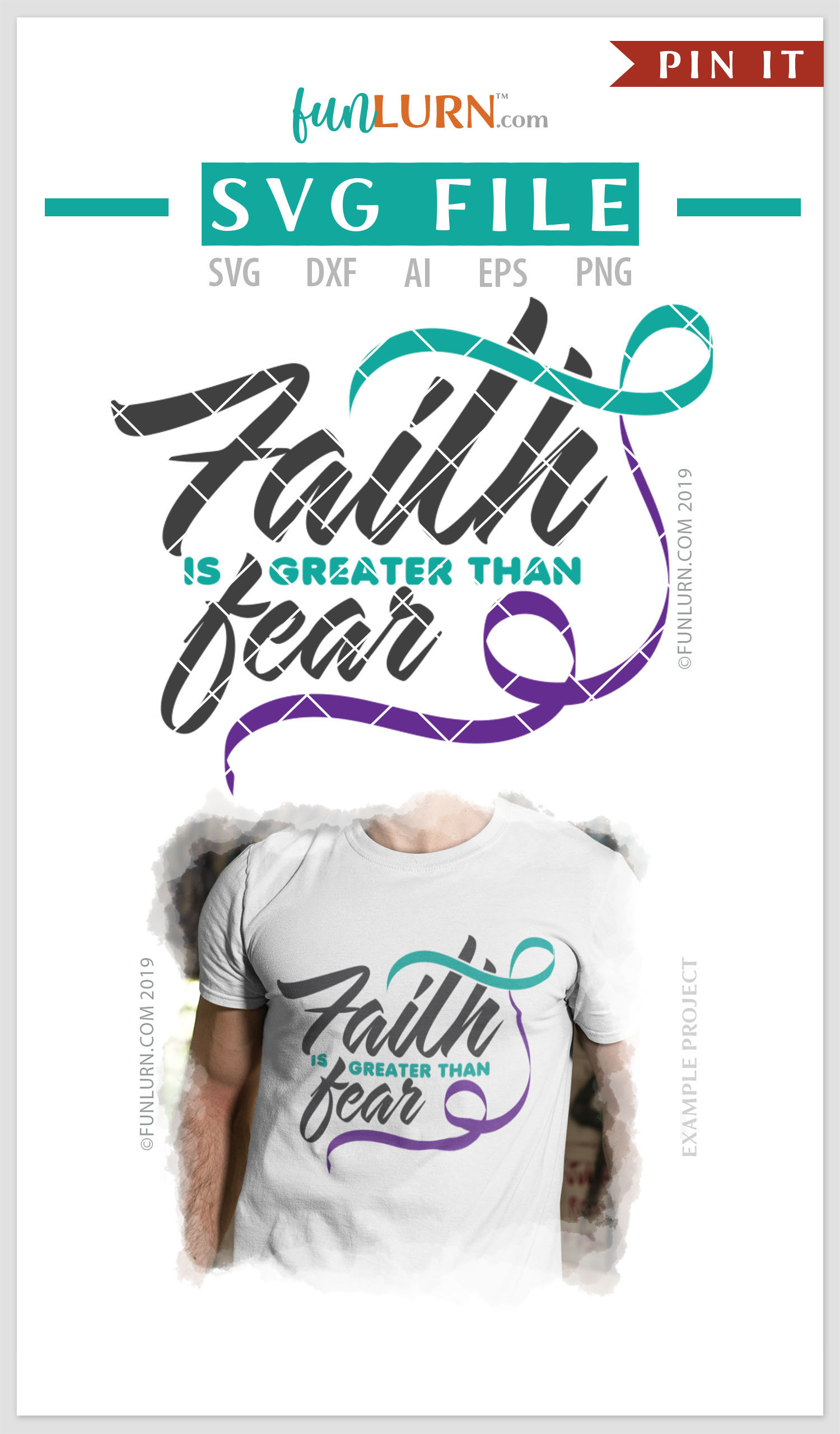 Faith is Greater Than Fear Teal and Purple Ribbon SVG example image 4