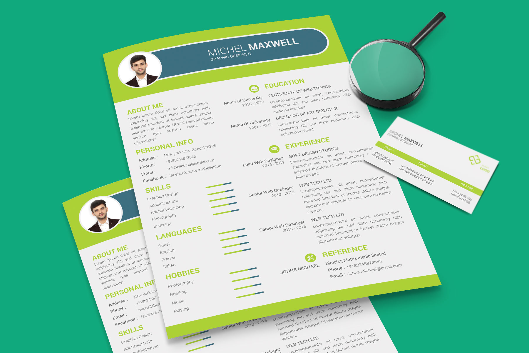 Professional Cv Resume Bonus business card Word/PSD,AI example image 6
