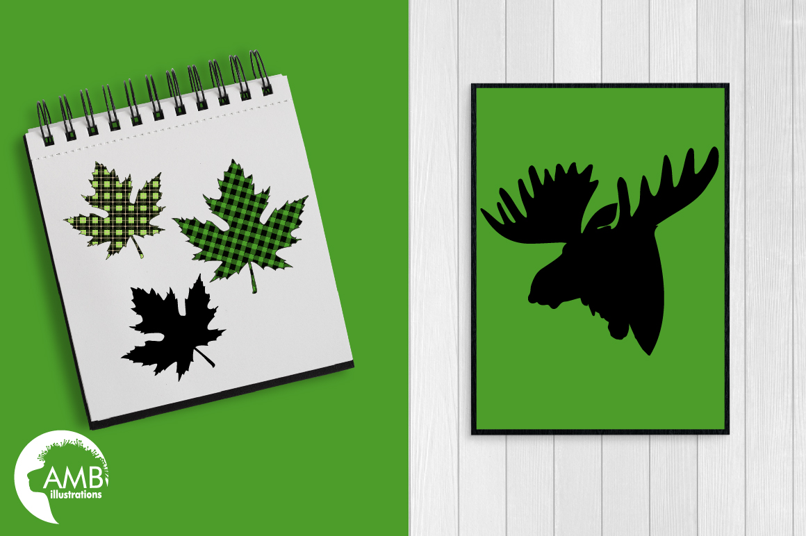Lumberjack clipart, Green Buffalo plaid, Forest animal silhouettes graphic, illustration, AMB-2360 example image 3