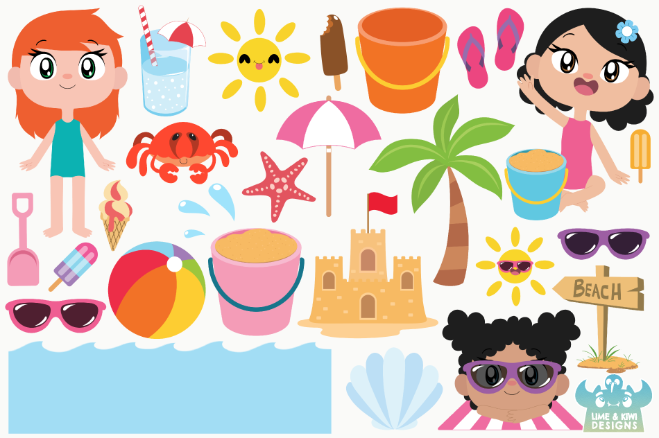 Beach Party Girls Clipart, Instant Download Vector Art example image 2