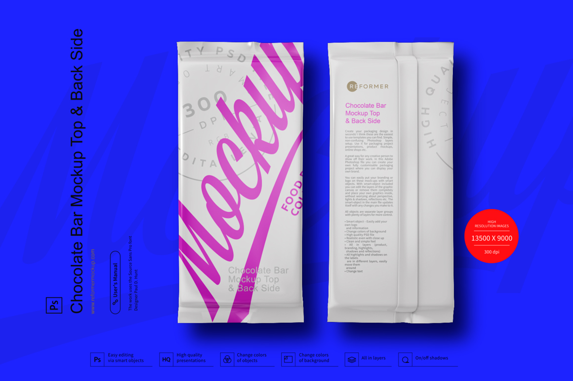 Chocolate Bar Mockup Top & Back Side View example image 3