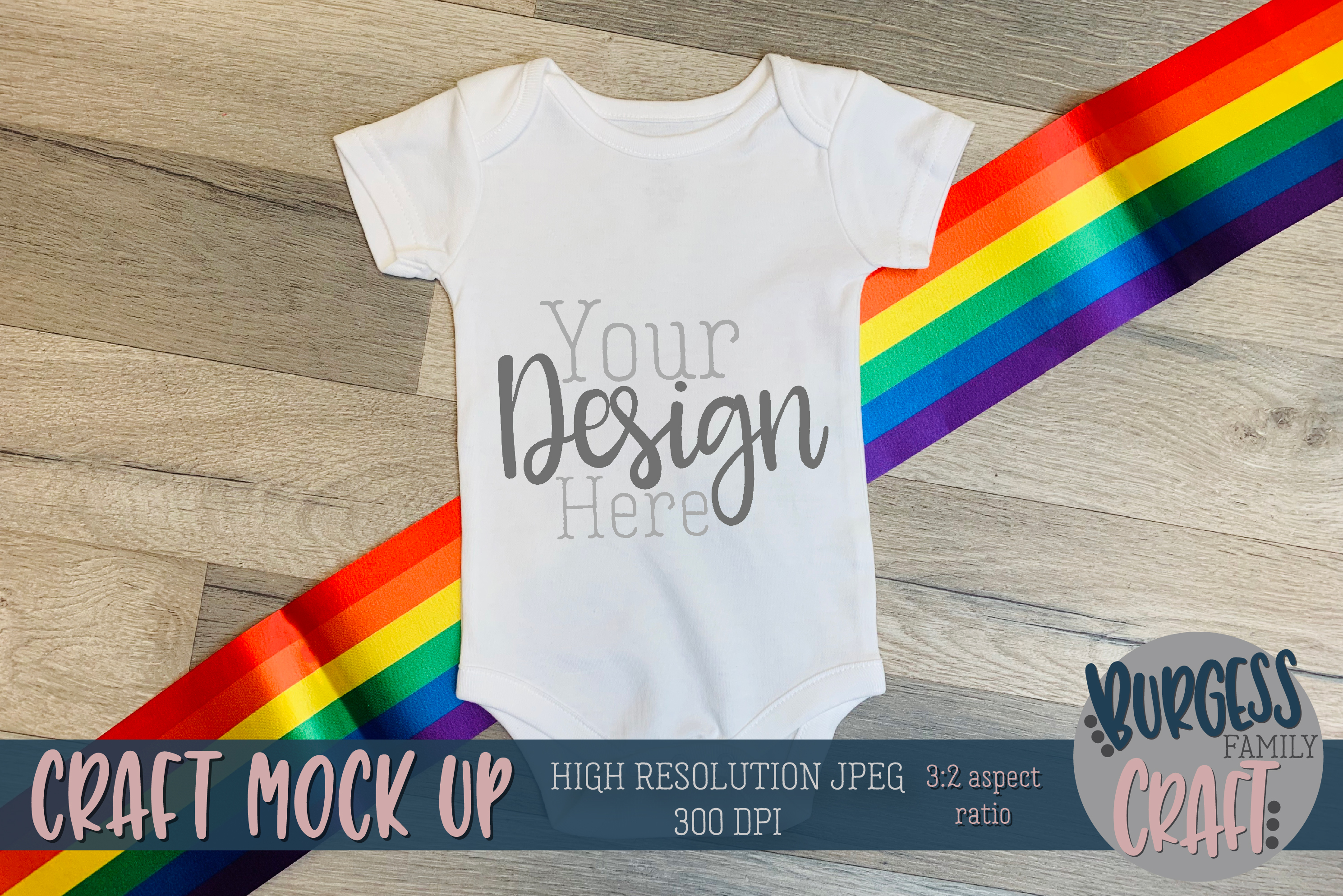Rainbow baby bodysuit II Craft mock up | High Res JPG example image 1
