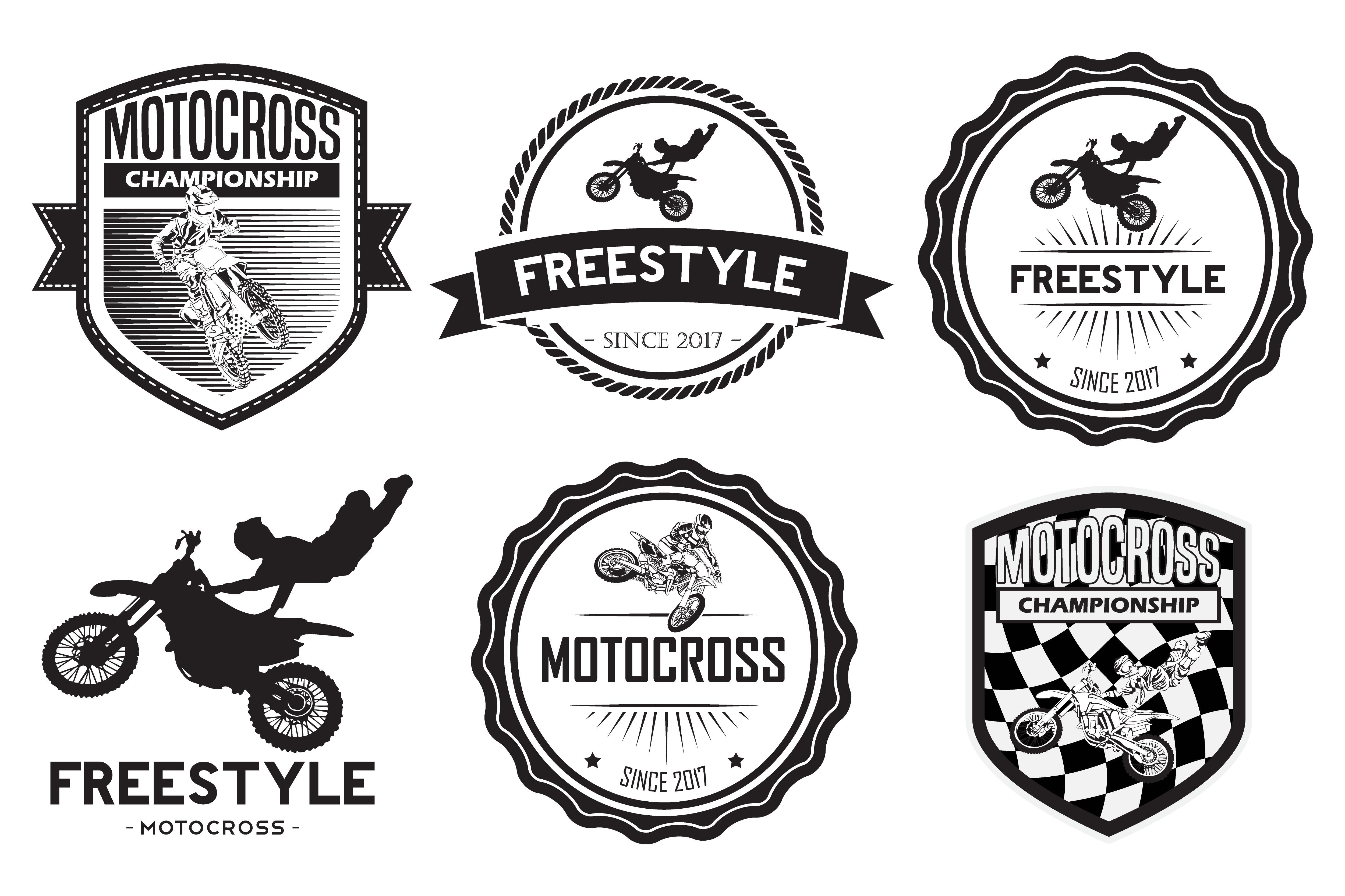 set of motocross badge logo vector by r design bundles rh designbundles net motocross logos symbols and design motocross logo stickers
