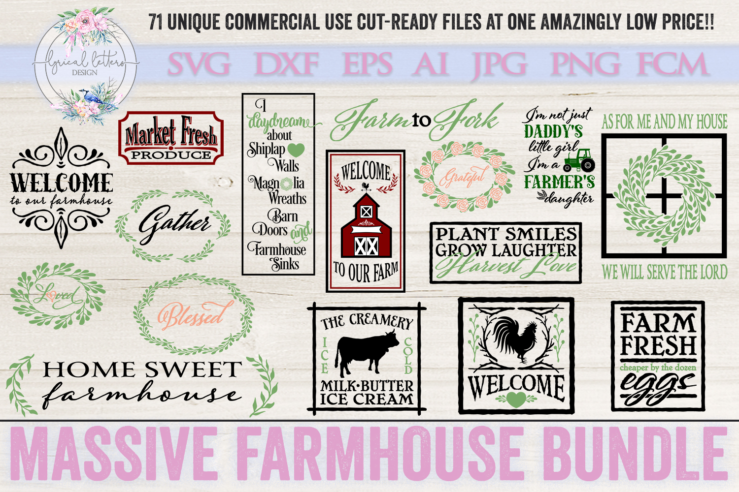 Farmhouse Bundle of 71 SVG DXF Cut Files example image 6