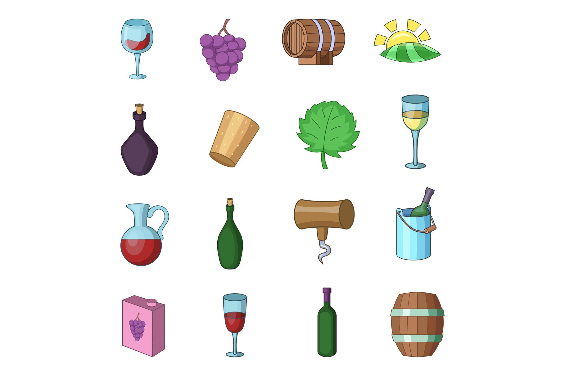 Wine yard icons set, cartoon style example image 1