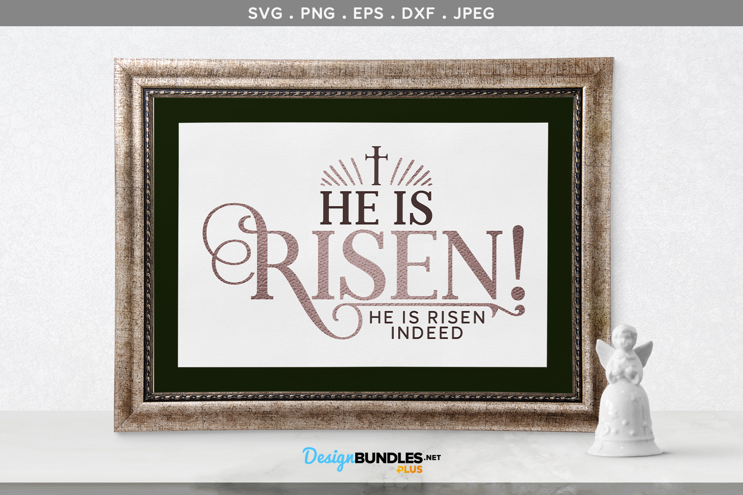 He is Risen! He is Risen Indeed - svg cut file & printable example image 1