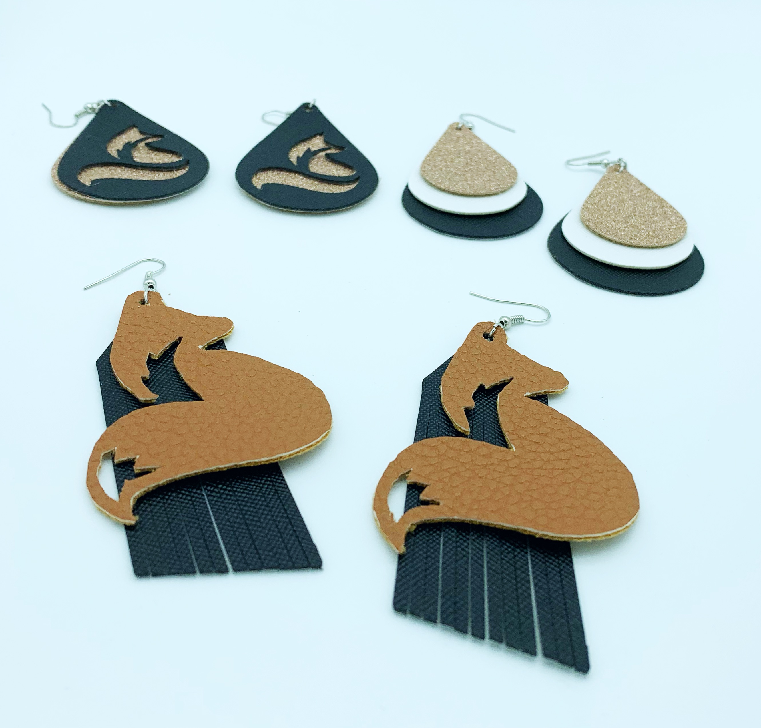 Fox theme earring svg / dxf example image 3