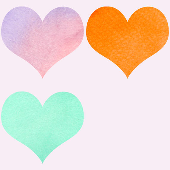 Watercolor hearts clipart example image 2
