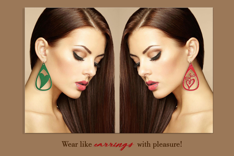 10 Leather earring bundle svg Teardrop earring Necklace example image 5