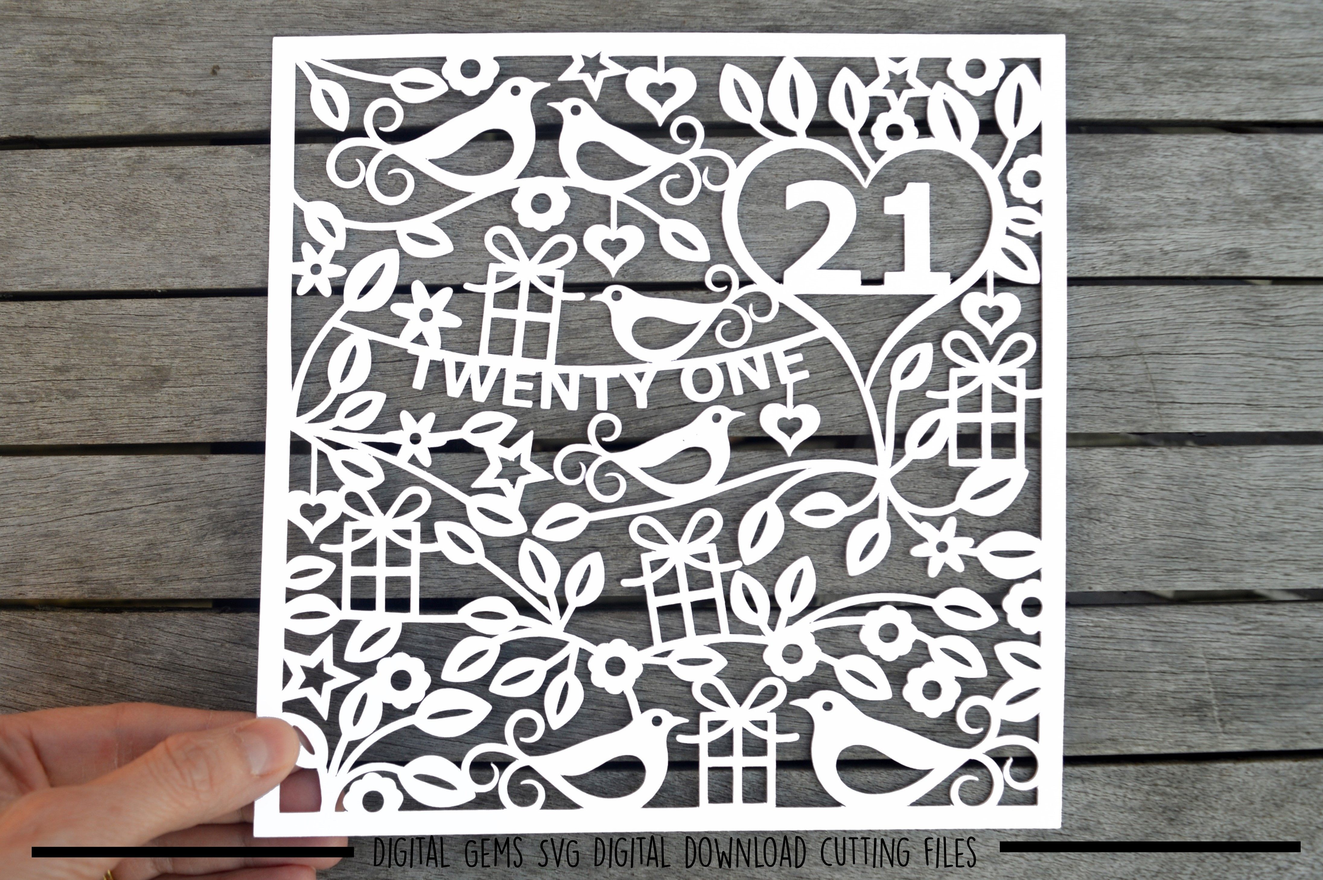 Number 21 paper cut SVG / DXF / EPS files example image 1