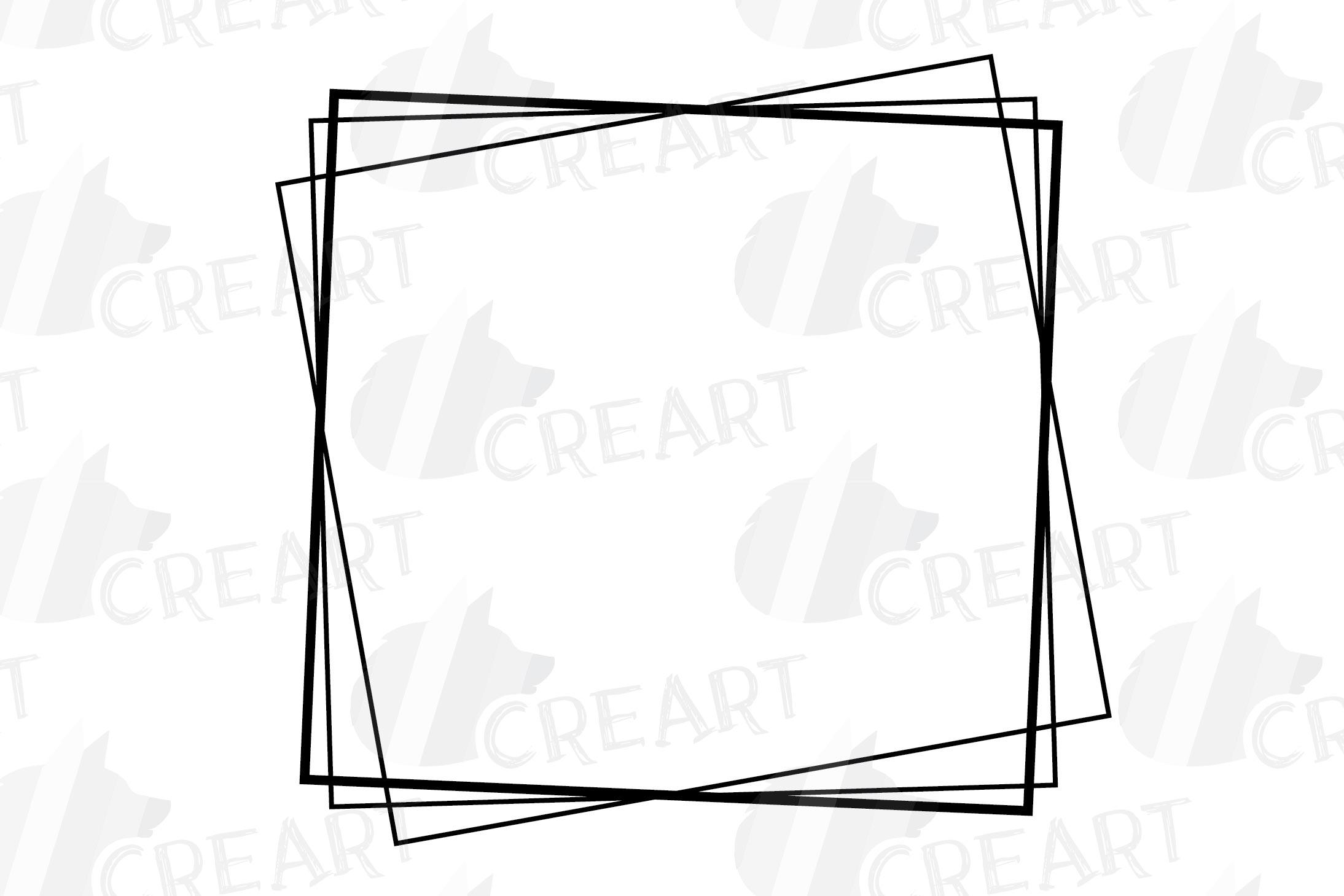 Geometric lineal black frames decor clip art. Wedding border example image 20