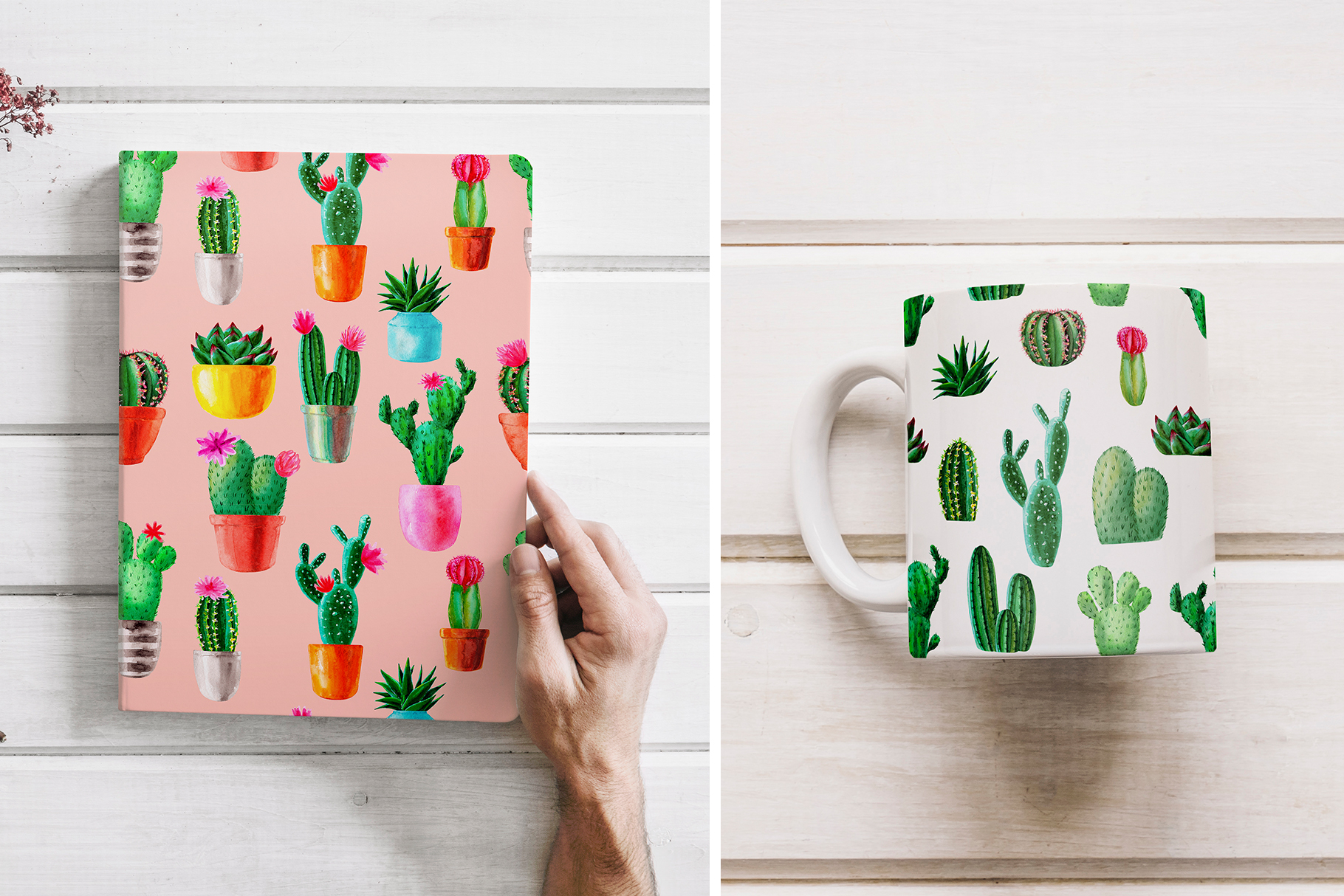 Watercolor Cactus. Cacti Patterns example image 5