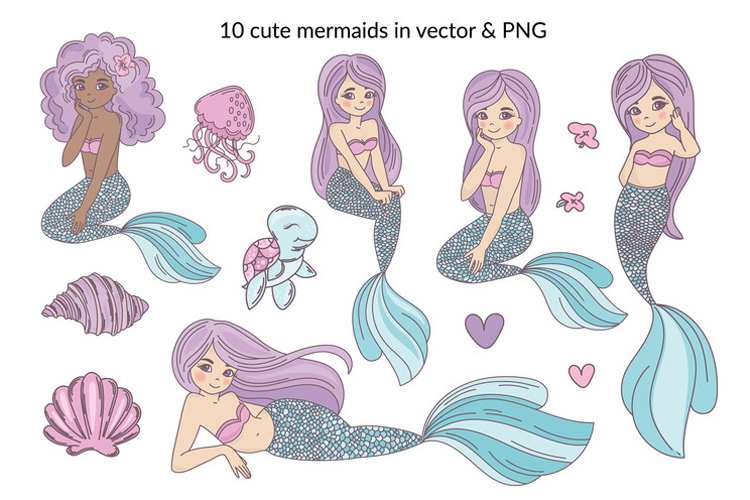 MERMAID IN LOVE Tropical Travel Vector Illustration Set example image 10