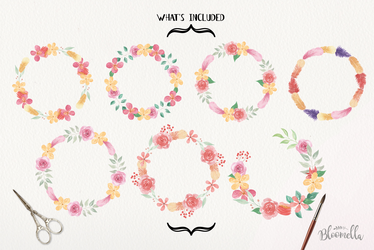 Floral 7 Wreath Watercolor Floral Garlands Flower Pink Berry example image 2