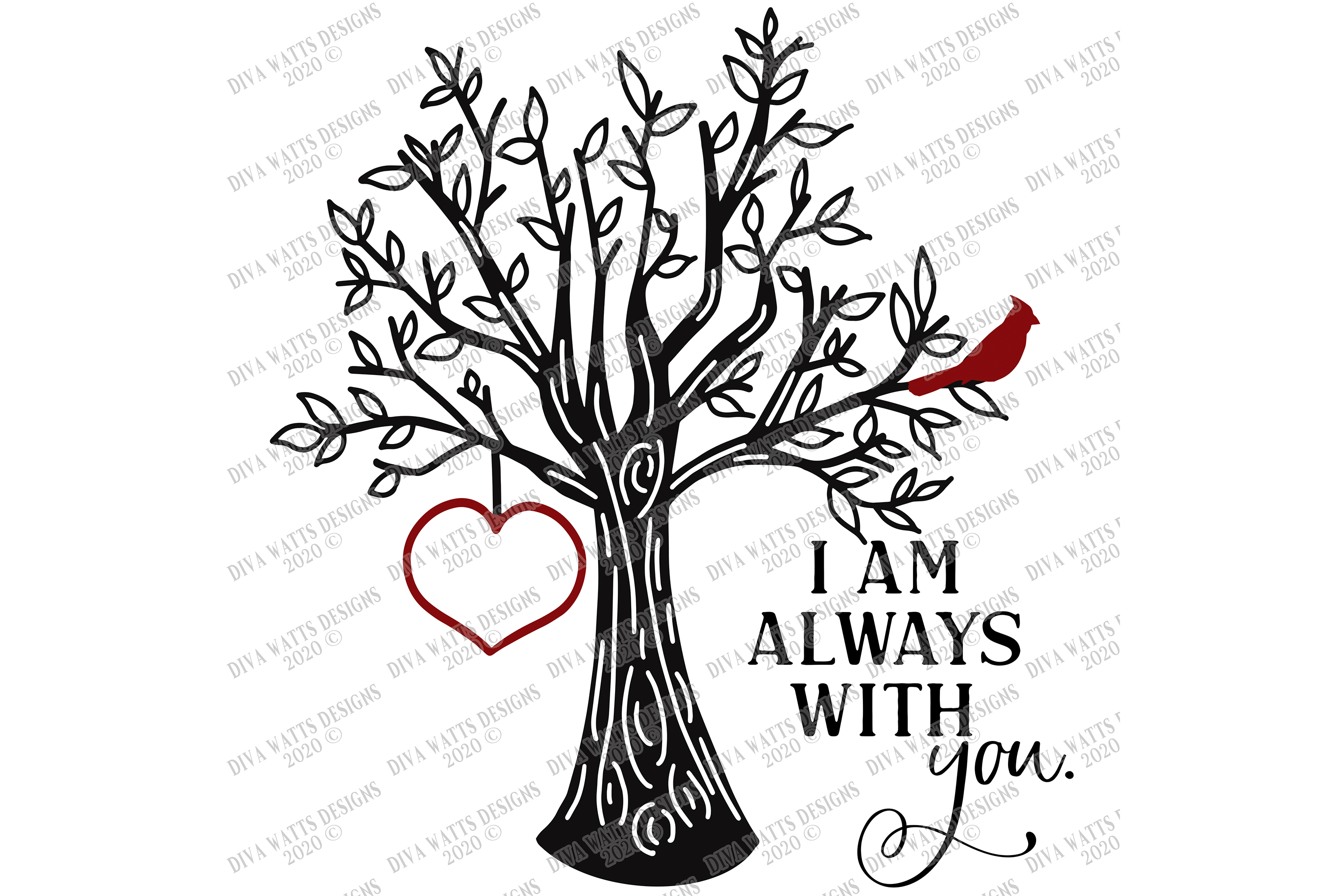 I Am Always With You - Red Cardinal Tree Heart - Customize example image 3