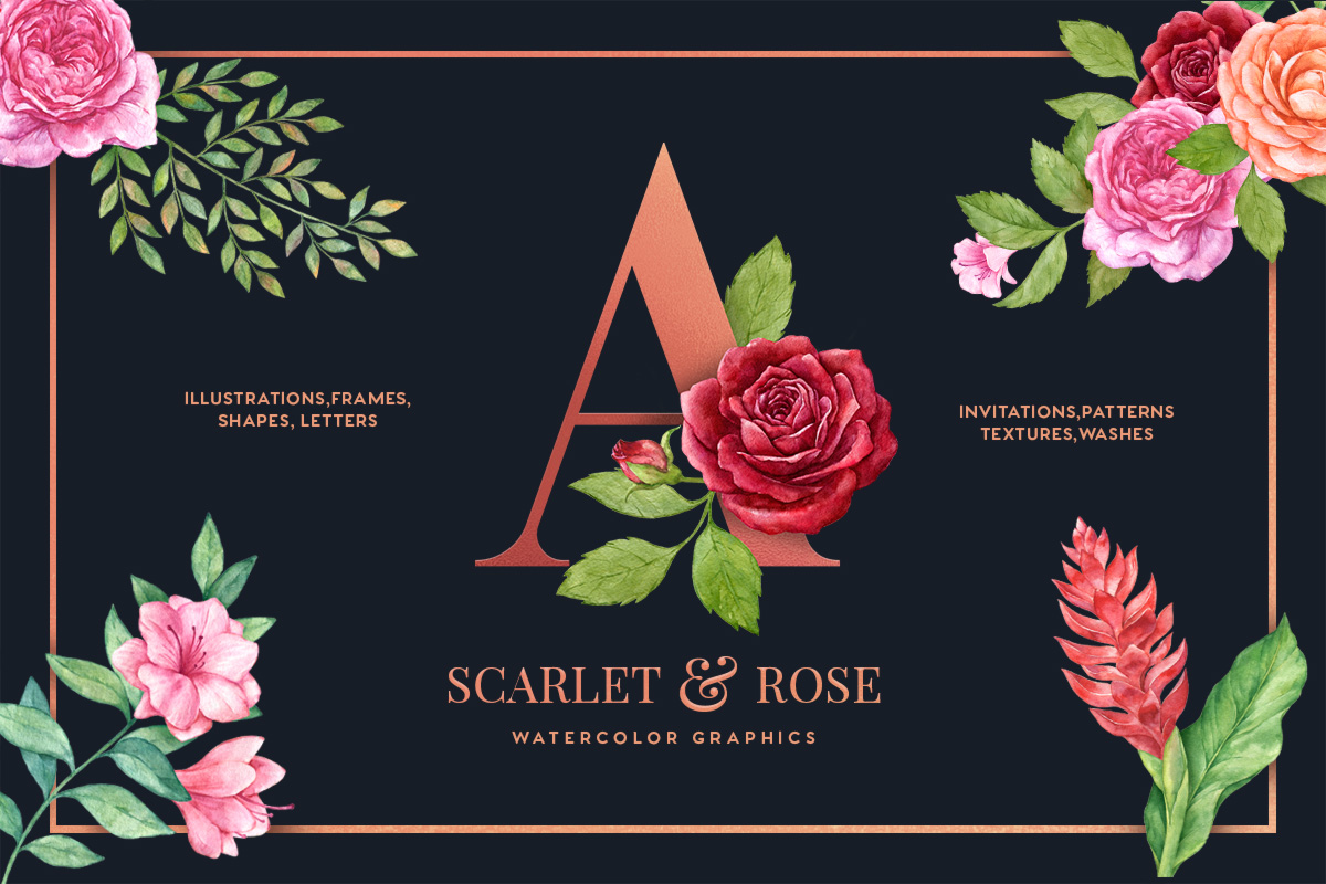Scarlet & Rose Watercolor Floral Set example image 1
