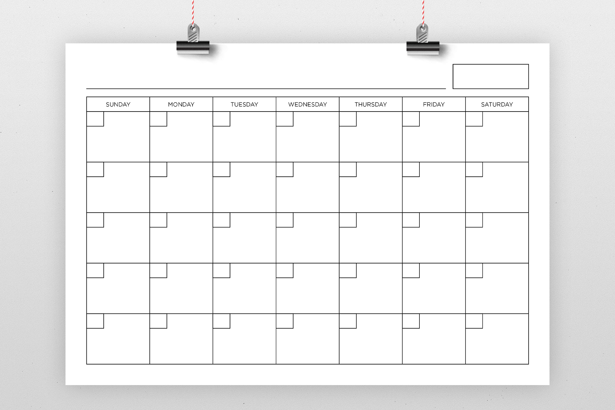 Blank Calendar Page Template Set example image 5