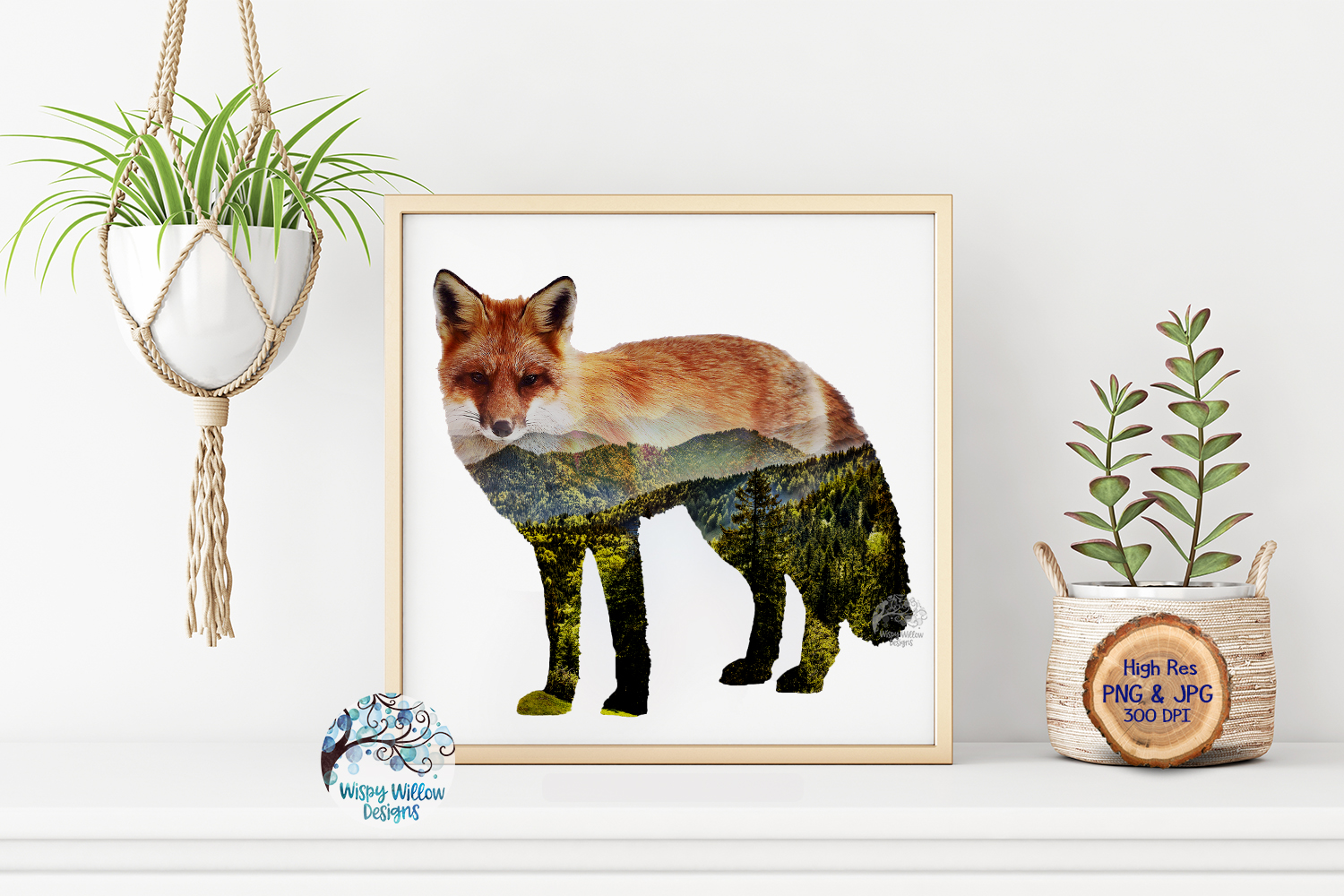 Double Exposure Mountain Fox PNG | Sublimation example image 3